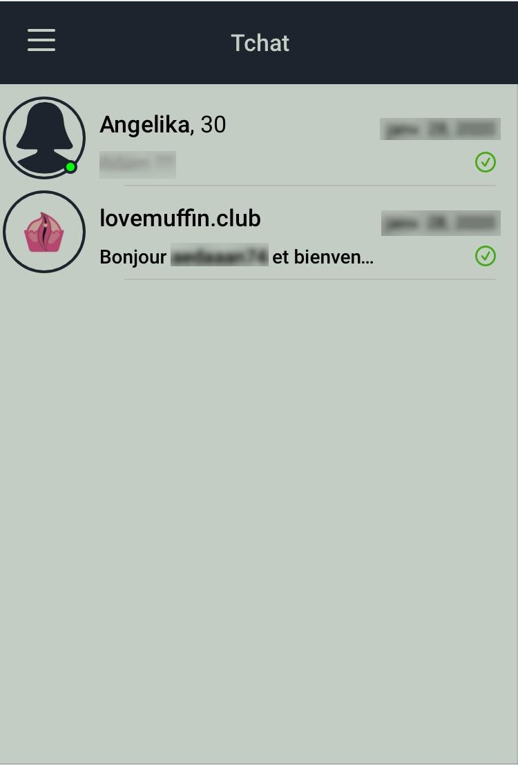 Love Muffin mobile messagerie